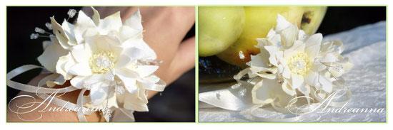 Браслет невесты хризантема и гортензия, с вкраплением кристаллов. Цветочки полностью ручной работы. Стоимость 250грн