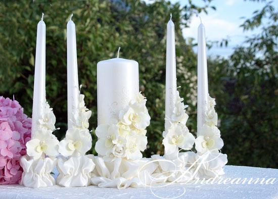 Перламутровые свадебные свечи «Мираж», цветы ручной работы. Стоимость набора (2 тонких свечи и одна большая) 650грн.