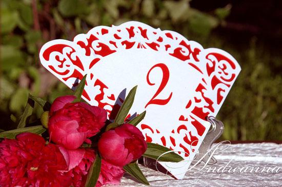 Ажурные номерки на столы «Фламенко» перламутровая бумага, в любом желаемом цветовом решение, стоимость 25грн 4$