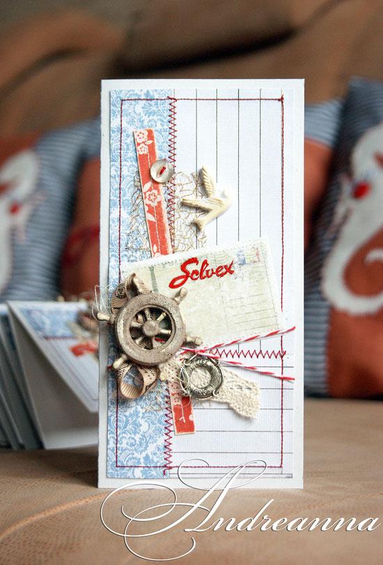 Поздравительная открытка, полностью ручной работы, с фирменным стилем для  тур. фирмы Solvex, натуральные материалы, элементы декора ручной работы, формат 10х20см. стоимость 40грн (5 долларов).