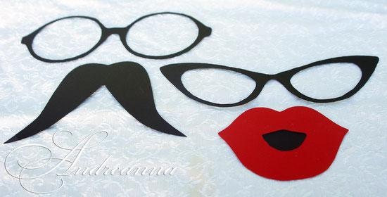 Очки, губы, усы – для фотосессии, на держателях.   Возможно выполнение в любом цвете. 15грн/шт. 2доллара