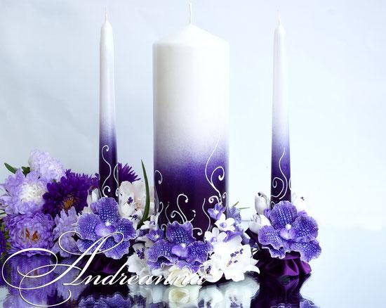 Свадебные свечи «Сиреневая орхидея Ванды и гардения», на перламутрово-сиреневом  фоне, стоимость 650грн набор, (выполнение в  любом оттенке).
