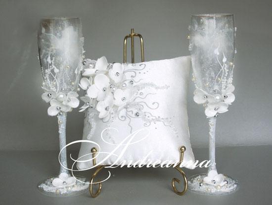 Бокалы «серебряная орхидея», стоимость 750грн, в любом тоне.