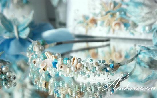 Диадема «Морские бабочки», морские ракушки, горный хрусталь, жемчуг, бирюза, камень кошачий глаз. стоимость 450грн (57 долларов).