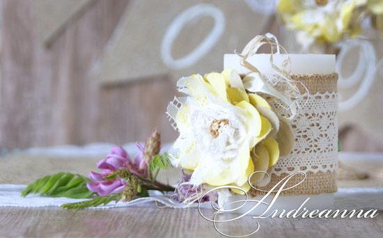 Свечи  «Рустик» мешковина, кружева, цветы,  ручной работы, стоимость 1 шт. 300 грн