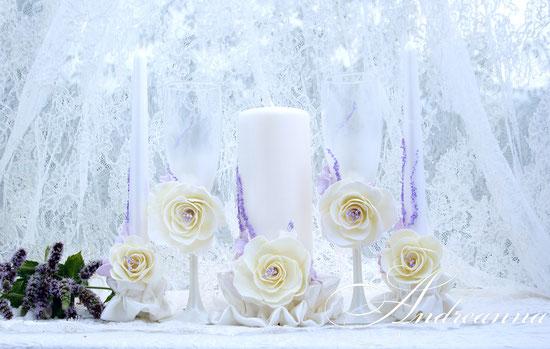 Набор свечей «Грани любви», цветы ручной работы, стоимость набора 650грн, 64$;