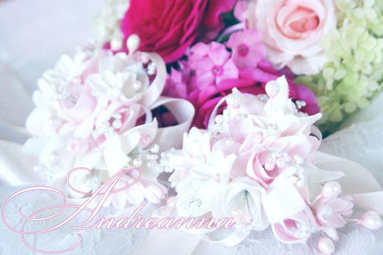 Браслет невесты «Розовая фрезия и гардения», стоимость 250грн (в любом желаемом цвете).