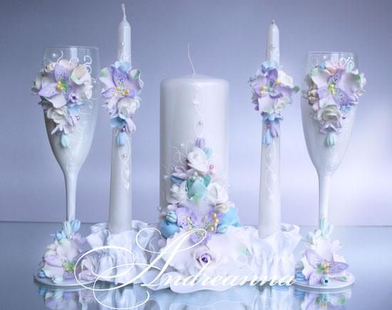 Свадебные свечи «Акварели любви», выполнение в любом желаемом цветовом решение (как яркое, так и пастельное), цветочки на Ваш выбор. Цветы полностью ручной работы. Стоимость 650грн