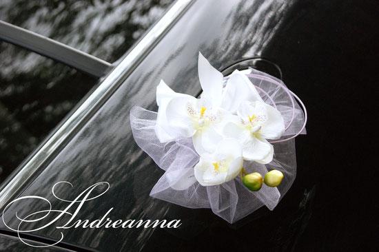 Украшение для авто «Кольца с фатином», с искусственной орхидеей (в желаемом цвете), стоимость 650грн набор