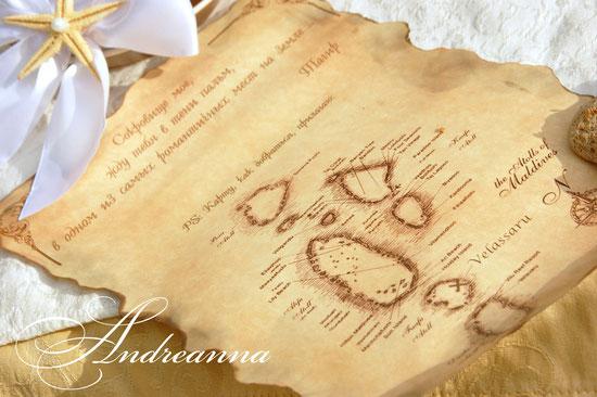 Состаренный свиток с бантом, старинной картой и морской звездой. Стоимость 50грн (без бутылочки)