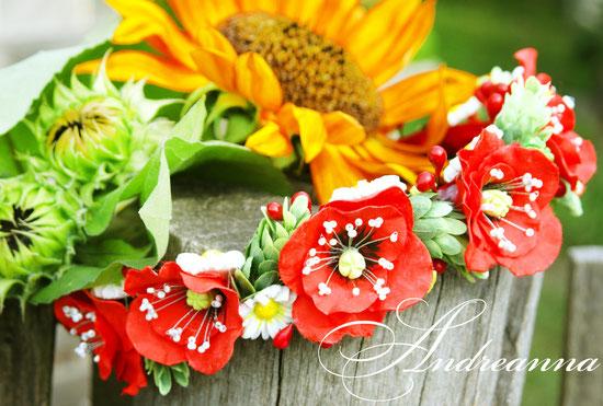 Венок для волос «Алый мак», для свадебного обряда. Стоимость 450грн. (желаемые цветы в любом цвете).