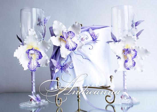 Подушечка для колец «лиловая орхидея Butterflies»,стоимость 450грн