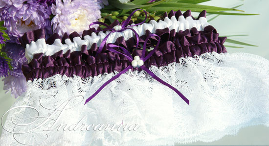 Набор подвязок «Остров сокровищ»  сиренево-белое цветовое решение (в любом желаемом цвете), стоимость набора 250грн 32$;