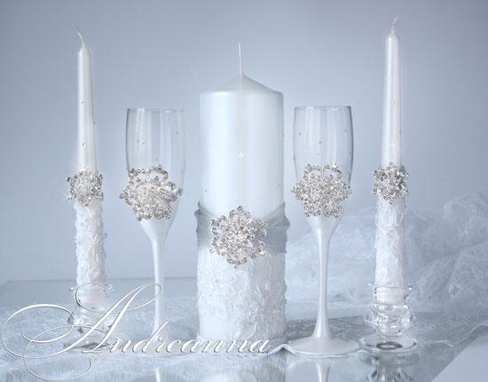 Свадебные свечи «Снежная королева» 650грн