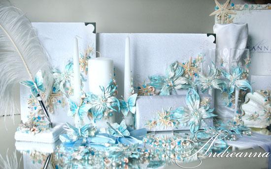 Свадебный фотоальбом А3 формата «Морская бабочка», Полностью ручной работы, 60ст перламутровых, с перламутровой калькой. Стоимость 3000грн