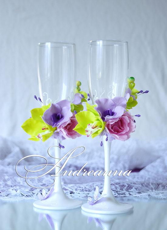 Бокалы «Мираж» (орхидеи, гортензия, пион– цветочки ручной работы, возможно изготовление в любом желаемом цветовом решение, с желаемым набором цветов. Стоимость пары 800грн