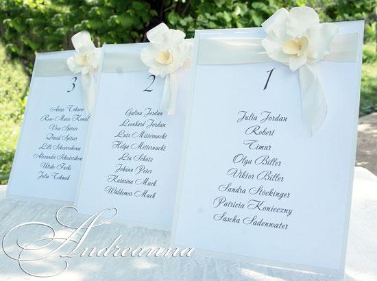 Мини-планы рассадки «Цветочный бант» (имена гостей могу вписываться в ручную или печать – по желанию) стоимость 20грн шт