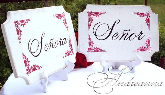 Состаренные деревянные таблички «Señora & Señor», в белых тонах, (возможно изготовление в любом цвете) ручная роспись, стоимость 250грн/пара.