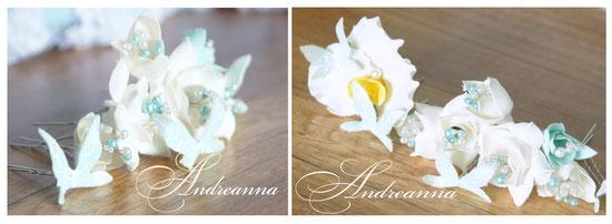 Цветочки и бабочки для волос. Любой желаемый цветок и цветовое решение, от 35грн/шт.