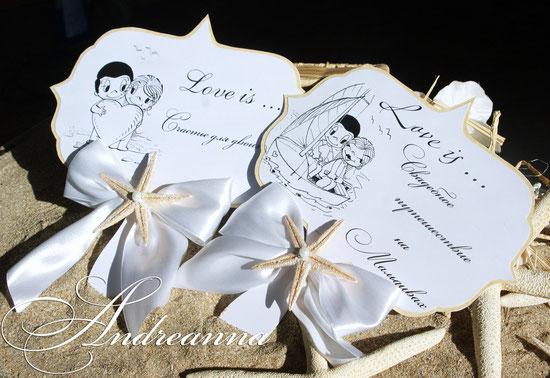 Табличка с бантом и морской звездой (фигурная, с удобной ручкой, для  руки), рисунок на выбор (фото, или без), стоимость от 35грн/шт.