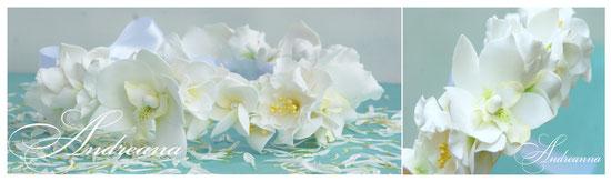 Венок «Экзотик», орхидеи, эустома, плюмерия (выполнение в любом цвете, с желаемыми цветами). Все цветы полностью ручной работы! Стоимость 550грн