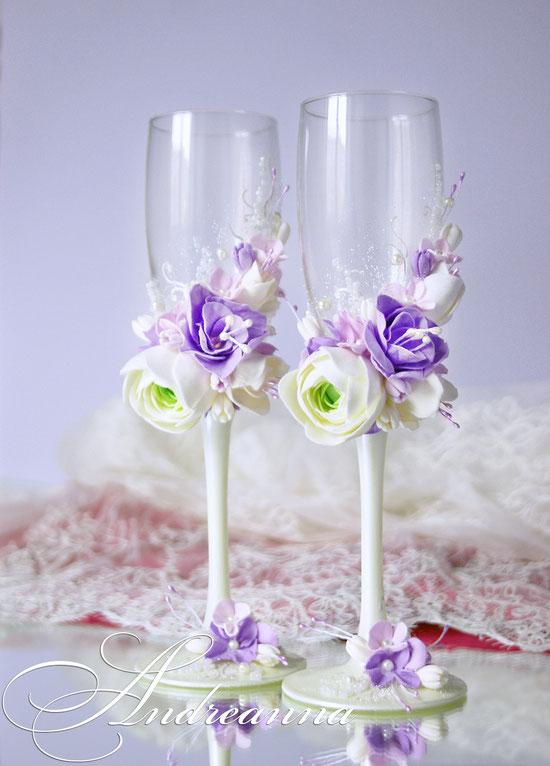Бокалы «Мираж» (ранункулюс, гортензия, эустома – цветочки ручной работы, возможно изготовление в любом желаемом цветовом решение, с желаемым набором цветов. Стоимость пары 800грн