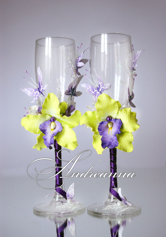 Бокалы «Салатовая орхидея Butterflies» Выполняются в любом цветовом решение. Стоимость 800 грн.