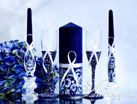свадебные Свечи «Сапфир», ручная роспись, кристалл Swarovski   650грн (возможны другие варианты цветового решения).