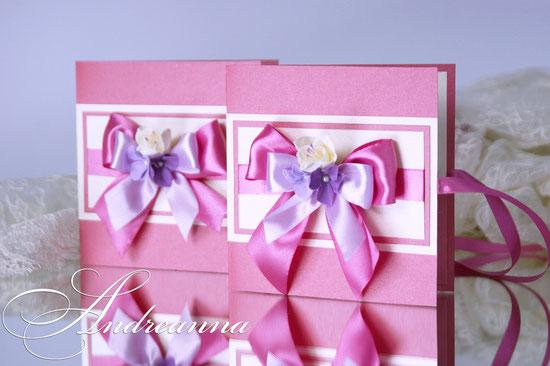 Упаковка в стиле «Одри», с цветочными композициями ручной работы, цвет – фуксия, стоимость 35грн (выполняется в любом цветовом решение).