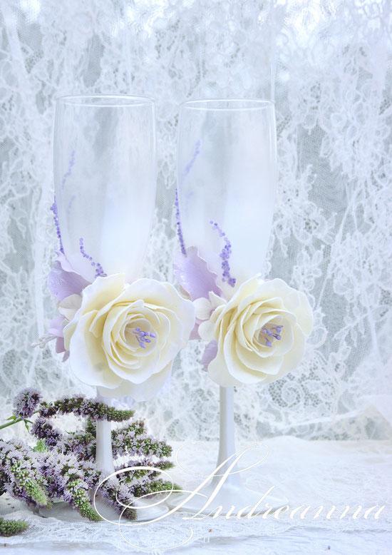 Свадебные бокалы «Грани любви» (выполнение в любом цветовом решение, стоимость пары 800грн