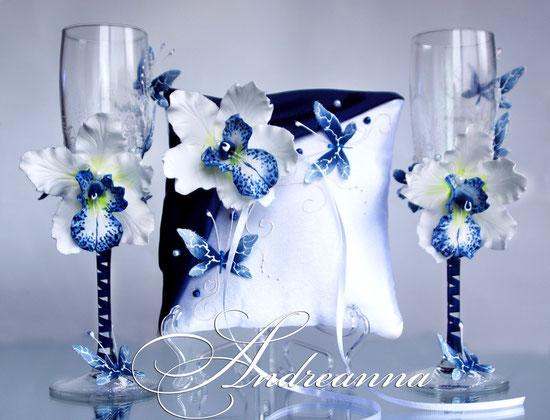 Подушечка для колец «темно-синяя орхидея Butterflies»,стоимость 450грн