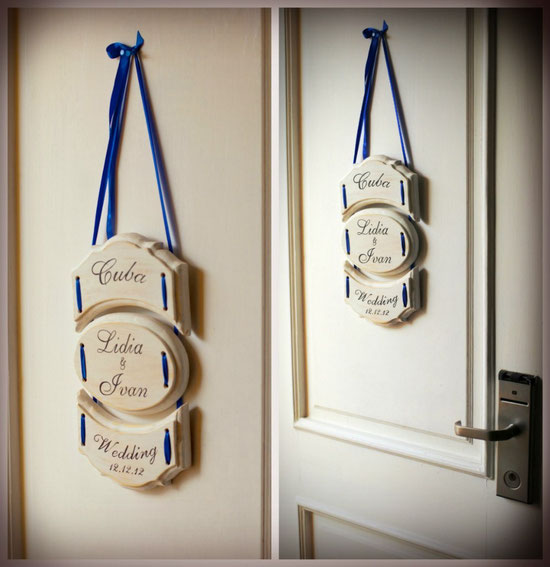 Именная табличка на дверь (триптих), с любым желаемым текстом. Стоимость 150грн, (19$),  натуральное дерево, форма – любая желаемая.