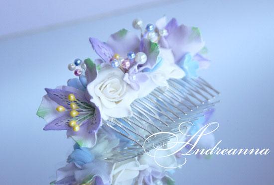 Гребень  «Акварели любви», выполнение в любом желаемом цветовом решение (как яркое, так и пастельное), цветочки на Ваш выбор. Цветы полностью ручной работы. Стоимость 450грн
