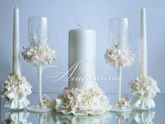 Свадебные свечи «розовая фрезия, роза и гардения», на перламутрово-жемчужном фоне, стоимость 650грн набор, (в любом оттенке).