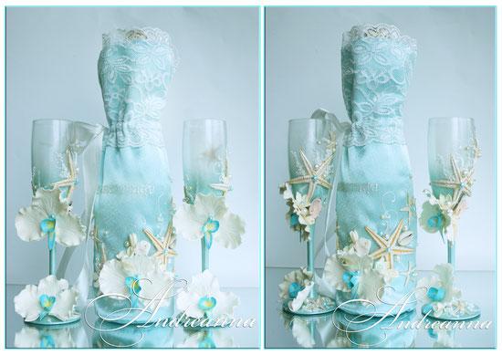 Чехол для шампанского «Сокровища морей», бирюза, с желаемой надписью и орхидейкой, стоимость 550грн, в любом цветовом решение