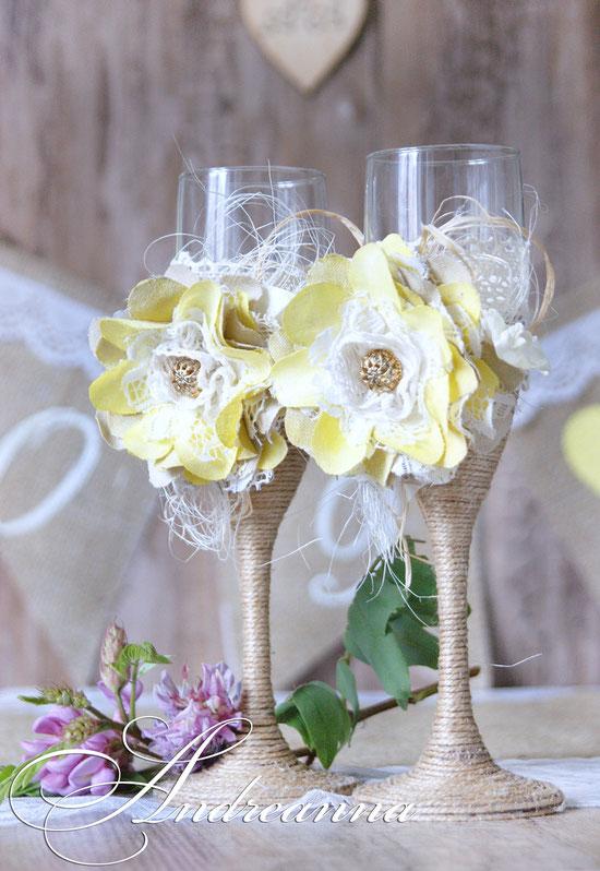 Бокалы «Рустик» с желтым цветком ручной работы, стоимость 800 грн
