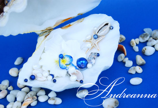 шкатулка-ракушка для колечек с синей орхидеей. Полностью ручная работа. Стоимость 800 грн
