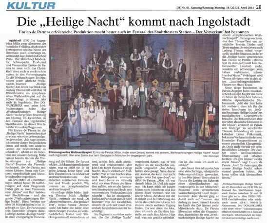 Ankündgung Weihnachtssingen Heilige Nacht am 22.012.2014 in Ingolstadt; DONAUKURIER, Kultur, Markus Schwarz, Artikel vom 19.04.2014