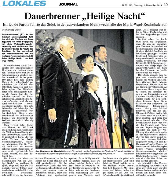 Kritik der Schrobenhausener Zeitung über die Heilige Nacht am 29.11.2015 in Schrobenhausen
