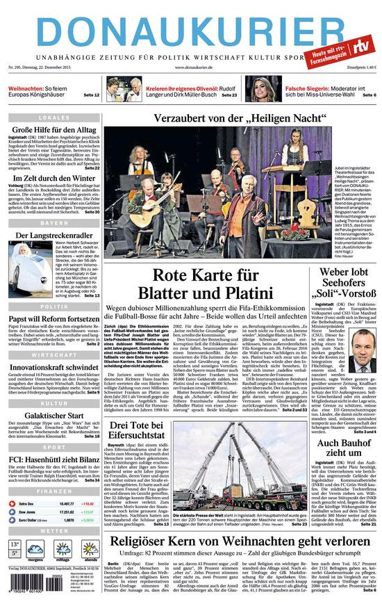Donaukurier Titelseite v. 22.12.2015
