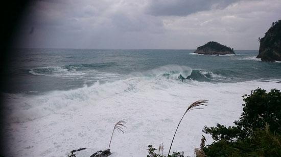 隠岐 春日浜 台風21号 波4m