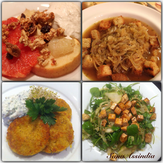 von Links: Warmer Obstsalat/Zwiebelsuppe/Vadai/Beautysalat