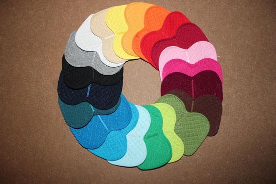 In folgenden Farben sind Schabbis, Bandagen und Abschwitzdecken machbar