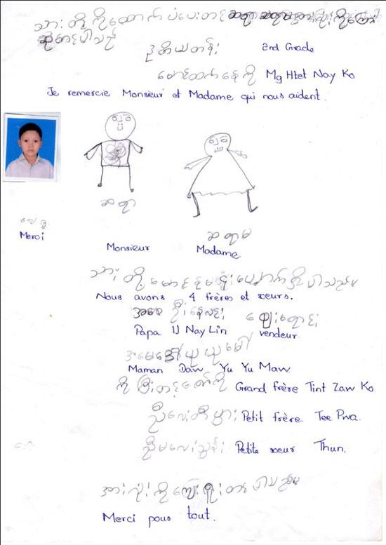 Mg HTET NAY KO - garçon - 7 years (27.5.2005) CE1 - 3 FRÈRES ET SOEURS - REVENUS DU FOYER : 65 €.