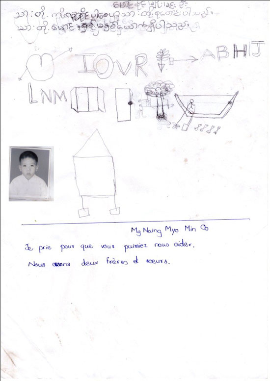 Mg NAING MYO MIN OO - garçon - 7 years (27.11.2004) - CE2 - 2 FRÈRES ET SOEURS - REVENUS DU FOYER : 50 €.