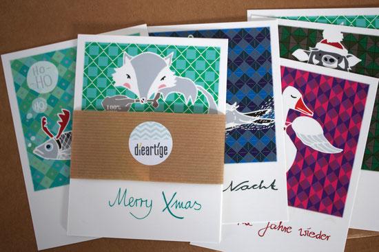 dieartge Blog, Weihnachts, Postkarten, 5er Set, Polaroid-Look, Grußkarten, Dekoration