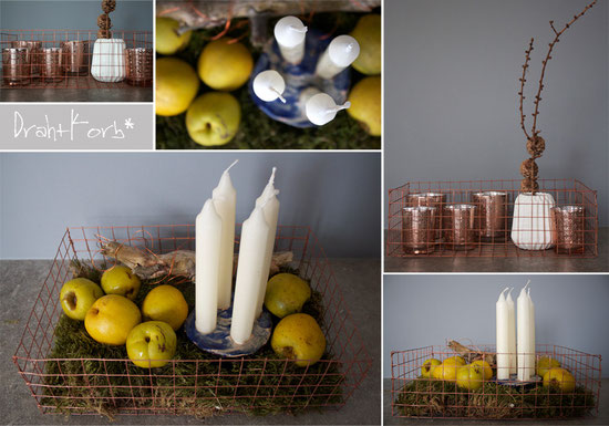 diearige BLOG, DIY, Kupfer, Drahtkorb, Advent, Dekoration, Blau, Gelb