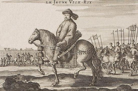 Le jeune vice-roi. Jean Nieuhoff (1618-1672) : L'ambassade de la Compagnie Orientale des Provinces Unies, vers l'empereur de la Chine. Jacob de Meurs, Leyde, 1665. 424 pages, 143 illustrations.
