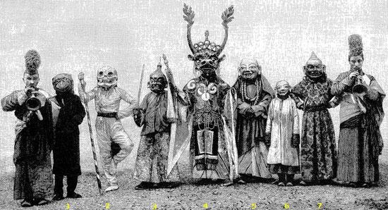 143. La danse Tsam. Albert Grünwedel (1856-1935) : Mythologie du bouddhisme au Tibet et en Mongolie. — Éditions Ernest Leroux, Paris, 1900. 188 illustrations.