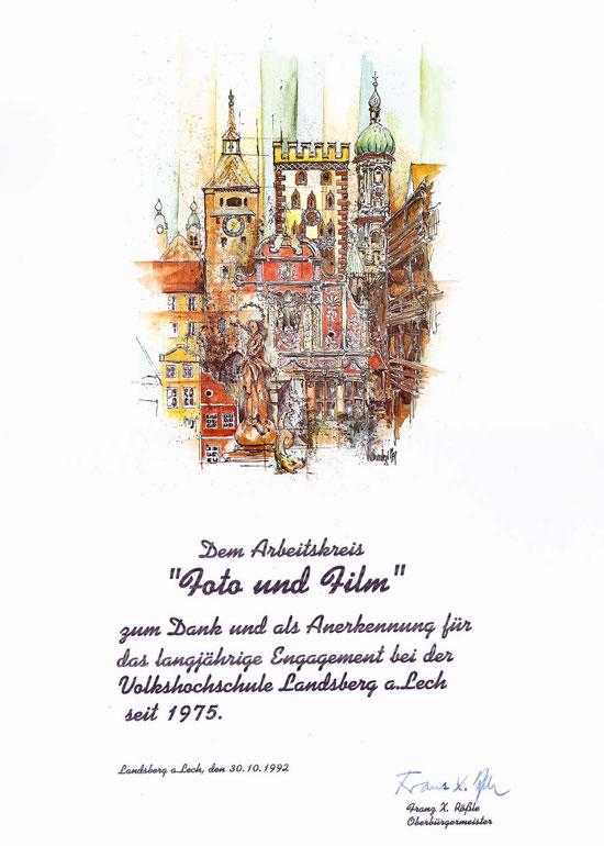 Jubiläum 40 Jahre vhs Fotogruppe Landsberg - Urkunde von OB